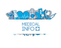 Medical background. stickers style. Blue sticker Royalty Free Stock Photo