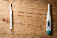 Medical background. Two thermometers. Stock Photography