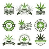 Medical badges or labels set. Monochrome illustrations of canabis and marijuana vector illustration