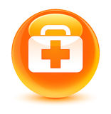 Medical bag icon glassy orange round button. Medical bag icon isolated on glassy orange round button abstract illustration Stock Photography