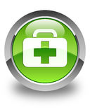 Medical bag icon glossy green round button Stock Photography