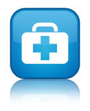 Medical bag icon special cyan blue square button. Medical bag icon isolated on special cyan blue square button reflected abstract illustration Royalty Free Stock Image