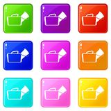 Medical bag icons 9 set Stock Photos
