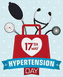 Medical Bag with Stethoscope and Sphygmomanometer Commemorating World Hypertension Day, Vector Illustration Royalty Free Stock Images