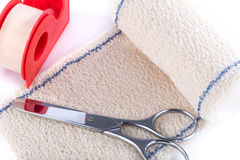 Medical bandage with scissors Stock Photography