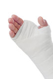 Medical Bandage. Medical splint on mans right hand. Isolated on white. Man has a broken wrist Royalty Free Stock Images