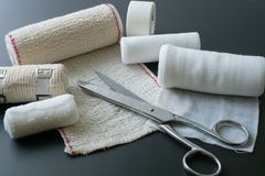 Medical bandages with scissors. stock photo