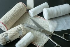 Medical bandages with scissors. royalty free stock image