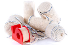 Medical bandages with scissors and sticking plaster stock photo