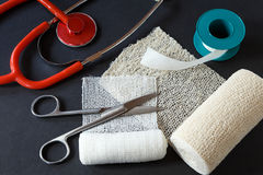 Medical bandages with scissors, sticking plaster Stock Photography