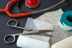 Medical bandages with scissors, sticking plaster Royalty Free Stock Image