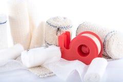 Medical bandages with sticking plaster Stock Photo