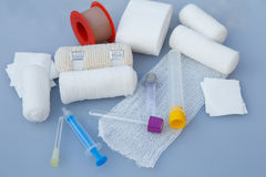 Medical bandages with sticking plaster and syringes Royalty Free Stock Image