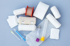 Medical bandages with sticking plaster and syringes Stock Images
