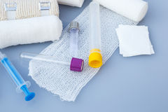 Medical bandages with sticking plaster and syringes Royalty Free Stock Photos