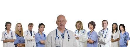 Medical banner of diverse Hospital staff. Doctor and Nurse and Interns standing with white background Royalty Free Stock Images