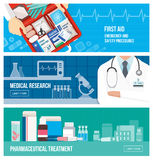Medical banner set. On emergency, first aid, scientific research and pharmaceutical treatment Stock Photography