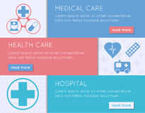 Medical banner set. Health, medical care and hospital concept. Stock Photos