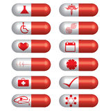 Medical banner set pills Stock Photography