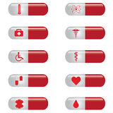 Medical banner set pills . Royalty Free Stock Photos