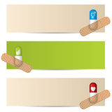 Medical banner set with plastered capsules Royalty Free Stock Image
