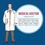 Medical banner, vector background with male doctor standing front side, cartoon portrait men physician full-length, painted human Royalty Free Stock Images