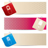 Medical banners with attached notepapers Stock Images