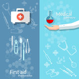 Medical banners blood donation first. Aid kit doctor hand medicine instruments Royalty Free Stock Photography