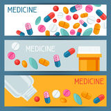 Medical Banners Design With Pills And Capsules Royalty Free Stock Images