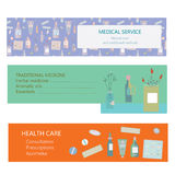Medical banners for herbal and traditional medicine Royalty Free Stock Photos