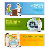 Medical Banners Set. Medical horizontal banners set with examination advice and hospitalization elements isolated vector illustration Stock Photography