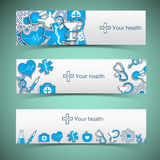 Medical banners set with icons Stock Images