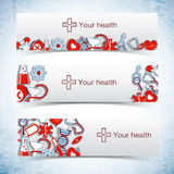 Medical banners set with icons Royalty Free Stock Image