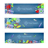 Medical banners set with icons Stock Photo