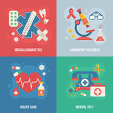 Medical banners templates in trendy flat style Stock Image