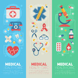 Medical banners templates in trendy flat style Stock Images