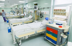 Medical beds with respiratory and life support systems Royalty Free Stock Photography