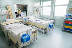 Medical beds with respiratory and life support systems Royalty Free Stock Photo