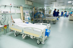 Medical beds with respiratory and life support systems Stock Photos