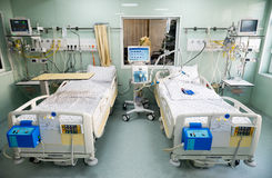 Medical beds with respiratory and life support systems Royalty Free Stock Image