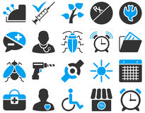 Medical bicolor icons. Medical icon set. Style: bicolor icons drawn with blue and gray colors on a white background Stock Image
