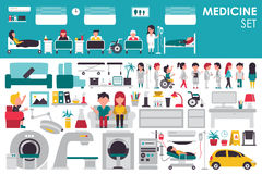 Medical Big Collection in flat design background concept. Infographic elements set with hospital staff doctor and nurse Stock Images