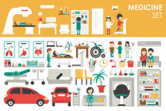 Medical Big Collection in flat design background concept. Infographic elements set with hospital staff doctor and nurse around medicine tools equipment. Icons vector illustration