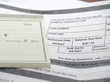A medical bill and check book. Background with nobody Royalty Free Stock Images
