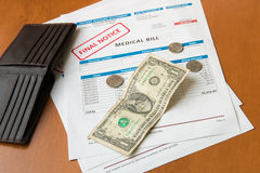 Medical bill from the hospital, concept of rising medical cost. Royalty Free Stock Photo