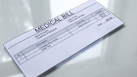 Medical bill lying on table, services payments, insurance document, healthcare. Stock photo vector illustration