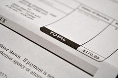 Medical Bill. Bill showing total due Stock Photo