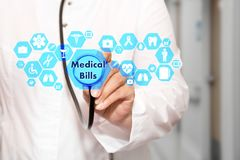 Medical Bills on the touch screen with icons on the medicine bac. Kground blur Doctor in hospital.Innovation treatment, service, health data analysis. Medical Royalty Free Stock Photos