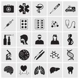 Medical and biological detailed icons set. Vector silhouette illustration Stock Images