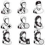 Medical black icons - professions Royalty Free Stock Images